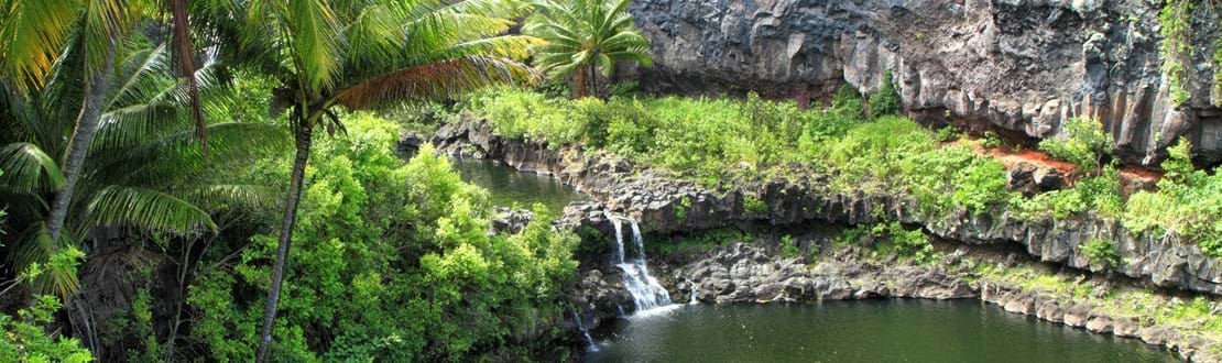 The dramatic jungle scenery at Hawaii's Pools of Oheo, near Hana on the east side of Maui..jpg