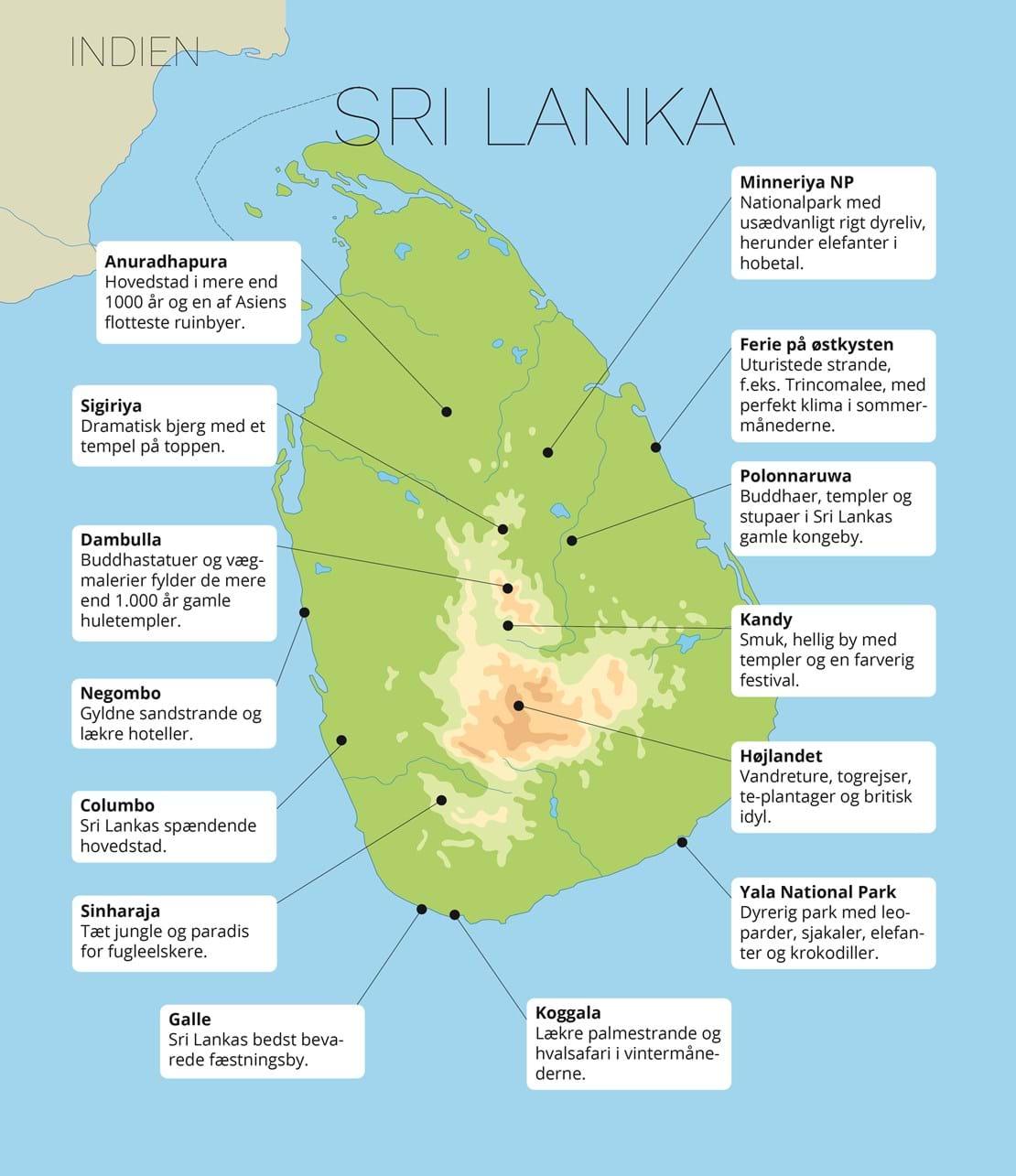 Sri Lanka Kort Med Sevaerdigheder Check Point Travel