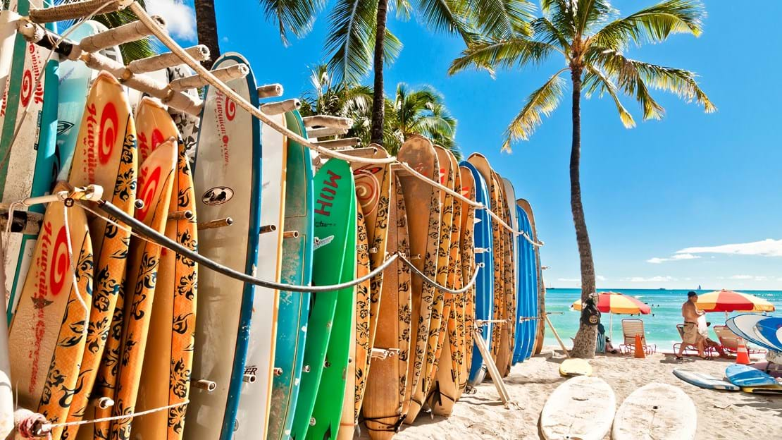 HONOLULU, HAWAII - SEPTEMBER 7, 2013 Surfboards lined up in the rack at famous Waikiki Beach in Honolulu. Oahu, Hawaii.jpg